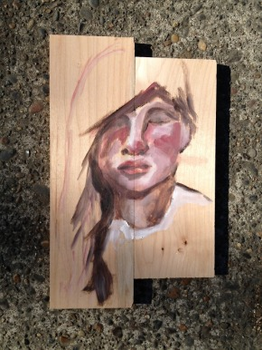 self I, oils on found wood, no primer by larissa via